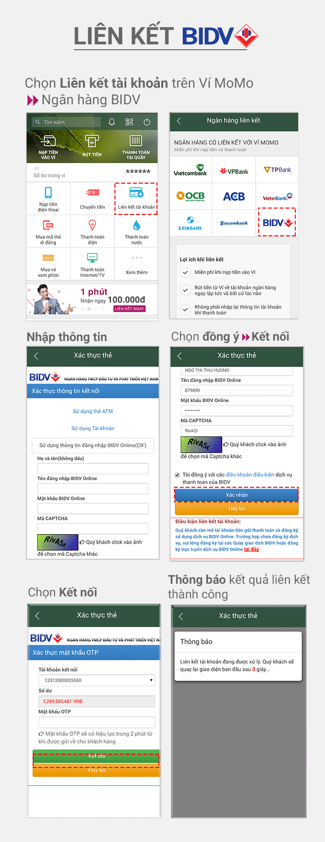 Hướng dẫn liên kết BIDV Bank