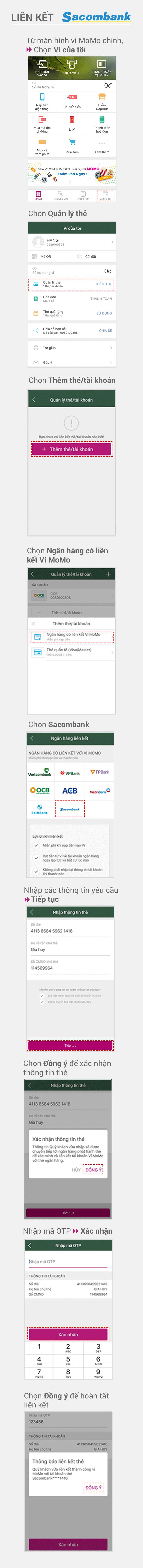 Hướng dẫn liên kết Sacombank