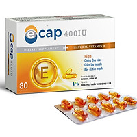 Thực phẩm chức năng Vitamin E 400IU hoàn toàn Tự nhiên sản xuất tại Nhật Bản Ecap (30 Viên/Hộp)