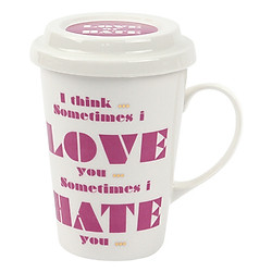 Ly Sứ Có Quai Và Nắp Đậy Love Or Hate Lock&Lock SLB006C (370ml) - Hồng