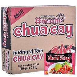 Thùng 30 Gói Mì Omachi Hương Vị Tôm Chua Cay (75gr/Gói)