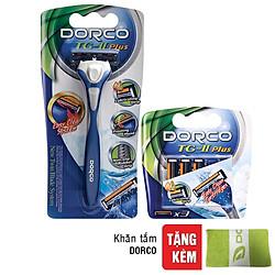 Bộ Dao Cạo Và Vỉ 03 Đầu Cạo Râu 2 Lưỡi Dorco TG-II Plus System (Tặng Khăn Tắm Dorco)