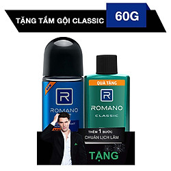 Lăn Khử Mùi Romano Force (50ml) - Tặng Kèm Tắm Gội 2 Trong 1 Classic (60g)