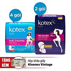 Combo Kotex Total Protection - Tặng Hộp Khăn Giấy Kleenex Vintage