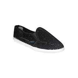 Giày Slip On Nữ Họa Tiết Lưới ShopNCC 134DE - Đen