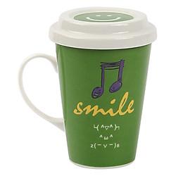 Ly Sứ Có Quai Và Nắp Đậy Smile Lock&Lock SLB007B (370ml) - Xanh Lá