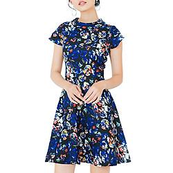 Đầm Hoa Cổ Lọ Thời Trang Eden D204XD - Xanh Đen