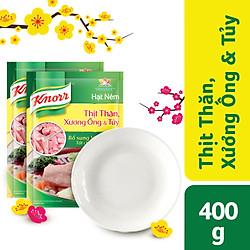 Combo 2 Hạt Nêm Knorr Từ Thịt Thăn, Xương Ống Và Tủy Bổ Sung Vitamin A (400g/Gói) - 67123170 - Tặng 1 đĩa sứ