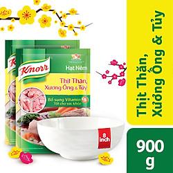 Combo 2 Hạt Nêm Knorr Từ Thịt Thăn, Xương Ống Và Tủy Bổ Sung Vitamin A (900g/Gói) - 67123048 - Tặng 1 tô sứ 8 inch