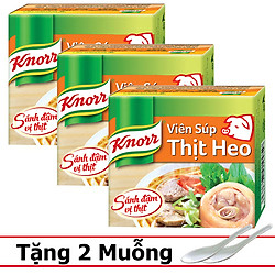 Combo 3 Viên Súp Thịt Heo Knorr (3x20g) - Tặng 2 muỗng sứ