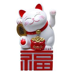 Tượng Mèo Vẫy Tay Vàng Triện Đỏ - Cỡ Đại