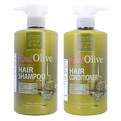 Combo Dầu Gội Và Dầu Xả Siêu Mượt Tinh Chất Olive Green Grapy Real Olive Velvet Dress Hair (500g / Chai)