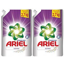 Combo 2 Ariel Gel Giặt Đậm Đặc Giữ Màu Túi (2.7kg x 2)