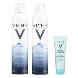 Combo 2 Xịt Khoáng Vichy Và Sữa Rửa Mặt Dạng Kem Tạo Bọt Chống Ô Nhiễm Cho Da