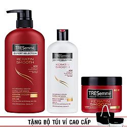 Combo chăm sóc tóc Tresemme Keratin Smooth: Dầu Gội 650g + Dầu Xả 340g + Kem Ủ 180g