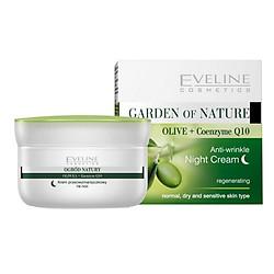 Kem Dưỡng Đêm Chống Nhăn Và Tái Tạo Da Olive + Q10 - Eveline Evel1690 Hộp 50ml