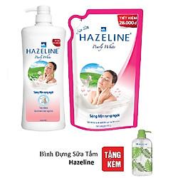 Combo Sữa Tắm Hazeline Sữa Dê và Ngọc Trai 900ml + Túi Refill Sữa Tắm Hazeline Sữa Dê và Ngọc Trai 900ml