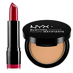 Combo Trang Điểm Tươi Xinh NYX Professional Makeup: Phấn Trang Điểm Thấm Hút Dầu + Son Tròn NYX Professional Makeup Round Lipstick (4g)
