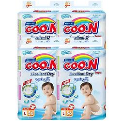 Combo 4 Gói Tã Dán Goo.n Slim Gói Cực Đại L56 (56 Miếng)