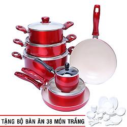 Bộ Nồi Chảo Đáy Từ Nắp Kính ILO 7 Món - 1000431 - Màu Đỏ (Tặng bộ bàn ăn 38 món)