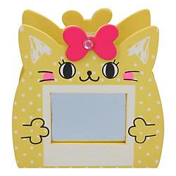 Hộp Cắm Bút Gỗ Hình Mèo (Có Gương) - Vàng