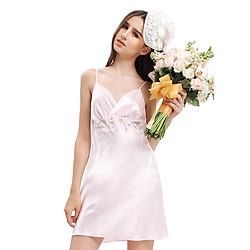 Đầm Ngủ Satin Bo Ren Chân Ngực Wannabe DN565