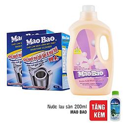 Combo 1 Chai Nước Giặt Kháng Khuẩn Mao Bao 2000g + 2 Hộp Chất Làm Sạch Lồng Giặt Mao Bao 300g - Tặng 1 Chai Nước lau Sàn 200ml