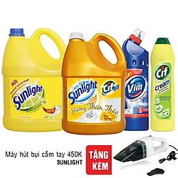 Combo Nước Lau Sàn Sunlight 3.8kg + Nước Rửa Chén Sunlight 3.8kg + Nước Tẩy Bồn Cầu Vim 900ml + Kem Tẩy Đa Năng Cif Hương Chanh Dạng Chai 500ml
