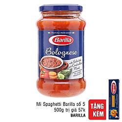 Sốt Thịt Barilla Bolognese (400g) - Tặng Kèm Mì Barilla Sợi Hình Ống Sợi Vừa Số 5 Spaghetti (500g)