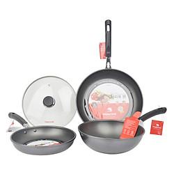 Bộ 3 Chảo Happy Cook HC04TK (Cạn 24Cm - Cạn 28Cm - Sâu 24 Cm) Và 1 Nắp Kính Cường Lực 24Cm