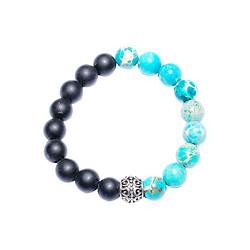 Vòng Tay Đá Obsidian Mix Đá Turquoise Charm Xi Bạc VD17017 (10mm)