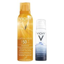 Chai Xịt Chống Nắng Lâu Trôi Dạng Phun Sương Vichy Ideal Soleil Invisible Hydrating Mist SPF50 UVB+UVA (200ml) - Tặng Nước khoáng Mineralizing Thermal Water (50ml)
