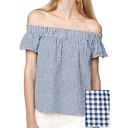 Áo Bẹt Vai Nữ Check Off The Shoulder Poplin Top MINTBasic MBB21422
