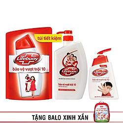 Combo Lifebuoy Bảo Vệ Toàn Diện: Sữa Tắm 850g + Túi Sữa Tắm Refill 850g + Nước Rửa Tay 500g