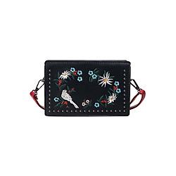 Túi Đeo Chéo Nữ Thêu Họa Tiết Naza T60185den (14 x 20 cm) - Đen
