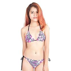 Bikini 2 Mảnh Họa Tiết Hồng Đen Peace's ZATG17 - Freesize