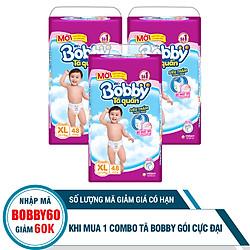 Combo 3 Gói Tã Quần Bobby Gói Cực Đại XL48 (48 Miếng)