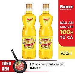Combo 2 Chai Dầu Ăn Cao Cấp Từ Cá Ranee (950ml / Chai) - Tặng Chảo Chống Dính Cao Cấp
