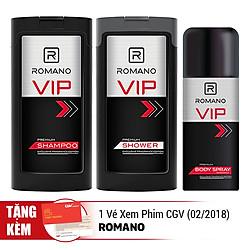 Combo Romano VIP 1: Sữa Tắm VIP (180g) + Dầu Gội VIP (180g) + Xịt Ngăn Mùi Toàn Thân VIP (150ml) - Tặng 01 Vé Xem Phim CGV Date 02/2018