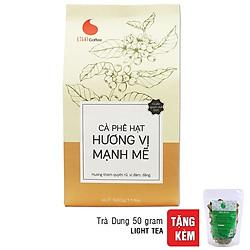 Cà Phê Hạt Rang Nguyên Chất 100% Light Coffee Hương Vị Mạnh Mẽ (500g) - Tặng Kèm Gói Trà Dung (50g)