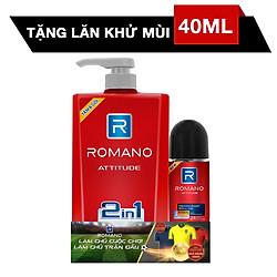 Dầu Tắm Gội 2 Trong 1 Dành Cho Nam Romano Attitude (650g) - Tặng Lăn Khử Mùi 40ml