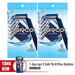 Bộ 2 Gói Dao Cạo Râu 2 Lưỡi Dorco TD 708 (5 Dao Cạo / Gói ) TD 708 5P - TD 708 5P - Tặng Dao Cạo 2 Lưỡi Dorco TG II Plus System