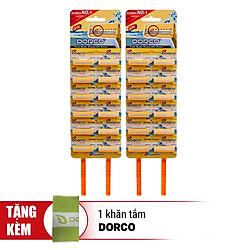 Combo 2 Set Dao Cạo Râu 2 Lưỡi Dorco TD 708 12HC (12 Dao Cạo / Vỉ) - Tặng 01 Khăn Tắm Dorco