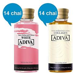 Combo 1 Dưỡng Chất Uống Làm Đẹp Collagen Adiva (14 Chai x 30ml) + 1 Hộp Dưỡng Chất Uống  Làm Đẹp Adiva White (14 Chai x 30ml)