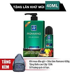 Dầu Gội Romano Classic (650g) - Tặng Lăn Khử Mùi 40ml