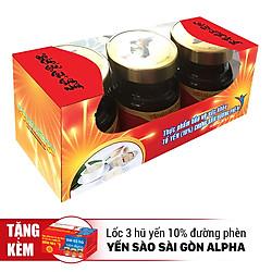 Tổ Yến Chưng Sẵn Đường Phèn 10% - Yến Sào Sài Gòn Anpha (3 Lọ / Lốc)