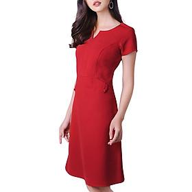 Đầm Suông Cổ Xẻ V Phối Túi Thời Trang Eden D170D - Màu Đỏ