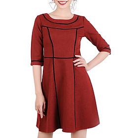 Đầm Xòe Tay Lỡ Phối Viền Đen Thời Trang Eden D177D - Màu Đỏ