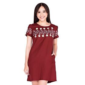 Đầm Suông Thêu Hoa Cirino D_LINEN_HMD - Đỏ Đô