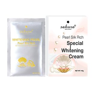 Kem Tắm Trắng Ngọc Trai Tơ Tằm Sakura Pearl Silk Rich Special Whitening Mask Cream (110G)